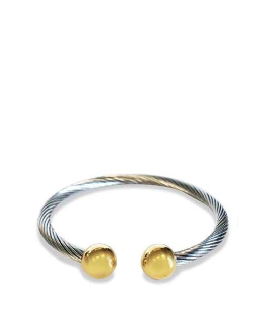 Bracelet en métal – bouts boules dorées