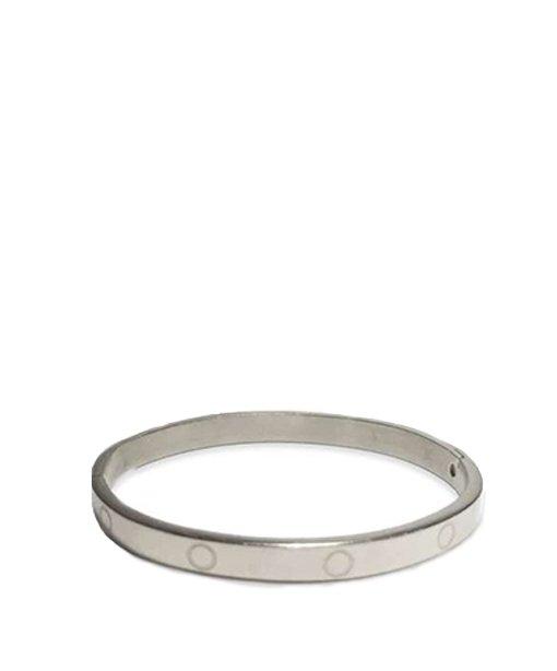 Bracelet rigide en métal avec charnière – argenté