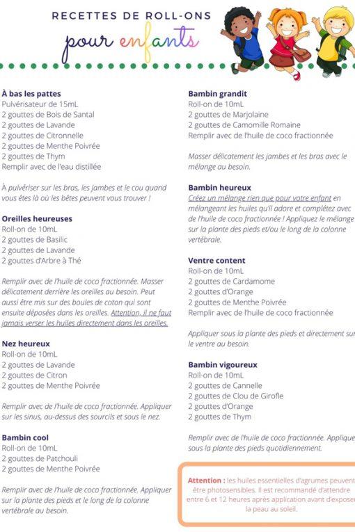Recettes de roll-ons pour enfants (PDF)